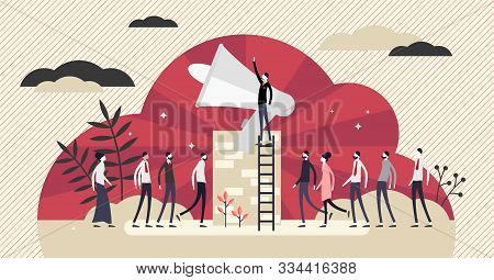 Propaganda Vector Illustration. Communication Channel In Flat Tiny Persons Concept. Communism Style