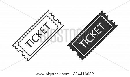 Two Tickets Vector Icons. Tickets In Different Design. Line And Flat Design. Ticket, Isolated On Whi