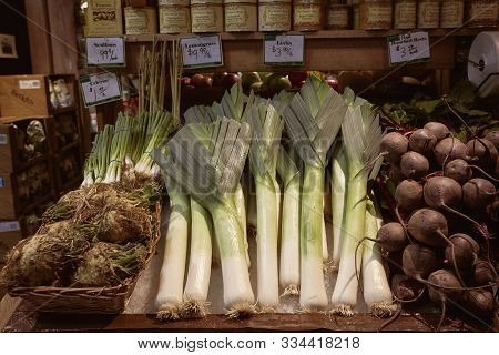 Woodstock, Vermont - September 30th, 2019: Leeks, Celeriac, And Beets For Sale At A Local Farmers Ma