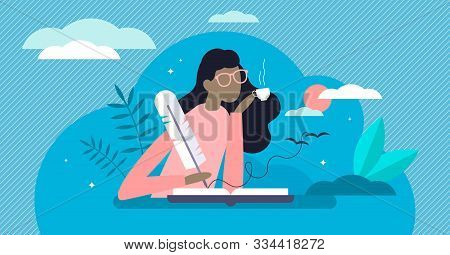 Writing Diary Vector Illustration. Private Daily Events Reflection In Flat Tiny Person Concept. Open