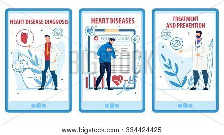 Heart Disease Prevention, Diagnosis, Treatment Mobile Webpage Set. Social Media Online Service Landi