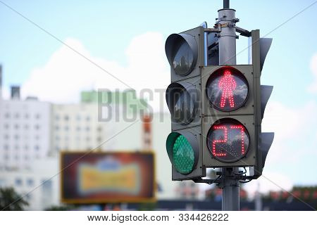 Focus On Street Lights With Red Color For Pedestrian And Green For Transport. Set For Controlling Tr