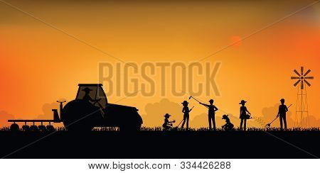 Silhouette Of Farmer Driving A Tractor And Planting Seedings Plants Vegetables In Farmed Land, Agric