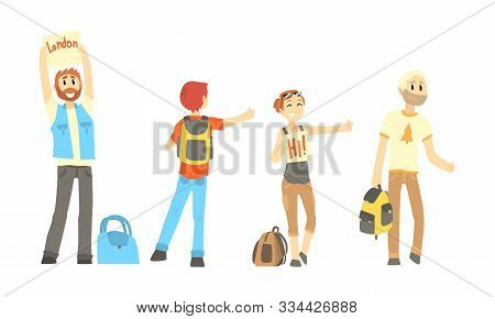 Hitch-hikers Standing Along The Road Trying To Get Car Vector Illustrations Set