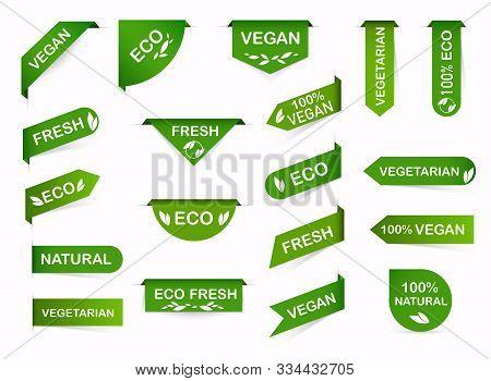 Vegan Mark Labels. Organic Food Labels. Fresh Eco Vegetarian Products, Vegan Label And Healthy Foods