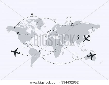 Set Of Planes Path With Location Pins Vector Illustration. Map  A Background. Heart Dashed Line Trac
