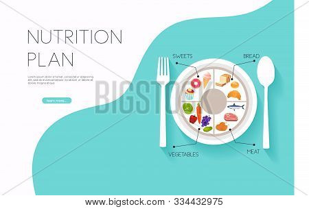 Healthy Food And Dieting Concept. Plan Your Meal Infographic With Dish And Cutlery. Flat Design Styl
