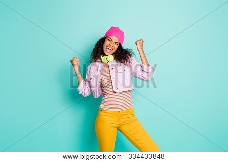 Photo Of Cheerful Cute Nice Pretty Attractive Youngster Wearing Yellow Pants Trousers Jacket Striped