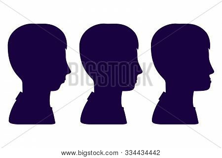 Malocclusion, Man In Profile, Silhouette. Wrong Bite: Lower Jaw Extended Forward And Retracted. Bite