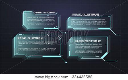 Futuristic Callout Bar Labels. Set Of Hud Futuristic Sci Fi Frame Template. Digital Info Boxes Layou