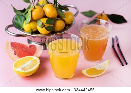 Composition With Two Glasses Of Assorted Citrus Juices Detox Diet Healthy Drink Mandarine Lemon And