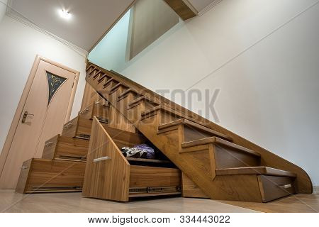 Modern Architecture Interior With Luxury Hallway With Glossy Wooden Stairs In Multi-storey House. Cu