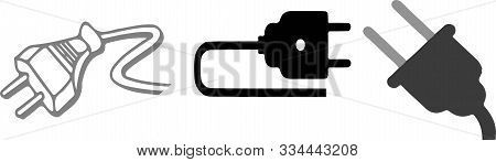 Power Plug Icon On White Background Unplugged, Vector