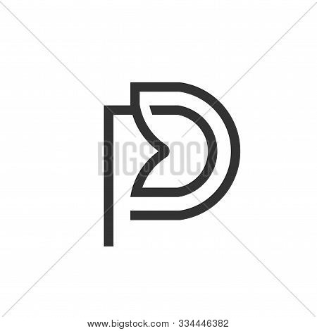 Initial Letter Pd Logo Linear Art Design Template Elements. Pd Letter Simple And Clean Flat Design