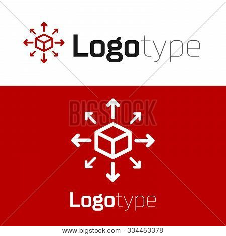 Red Distribution Icon Isolated On White Background. Content Distribution Concept. Logo Design Templa