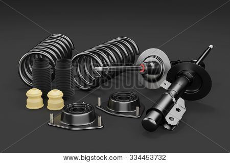 3d Rendering. Passenger Car Shock Absorber With Dust Cap, Buffer Mounting And Strut Mounting - New A