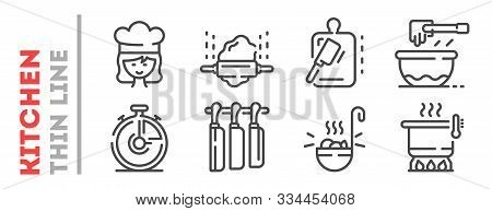 Set Of Thin Line Icons Related With Cooking Process Isolated On White. Outline Kitchenware, Cook Pic