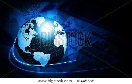 Brillante globo del mapa de mundo azul con calculadora