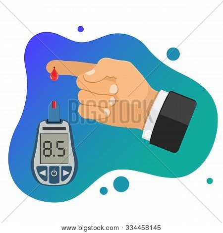 Diabetes Concept. Blood Glucose Meter And Finger With Blood Drop. Glucometer For Sugar Level Testing