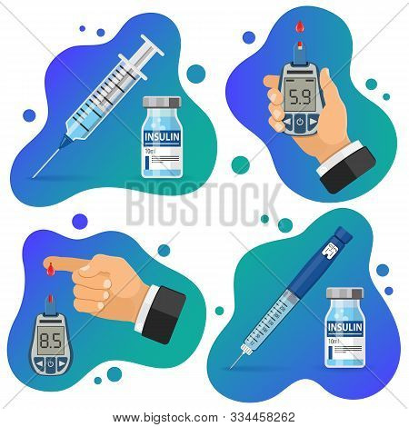 Diabetes Banners. Blood Glucose Meter And Finger With Blood Drop. Glucometer For Diagnosis Of Diabet