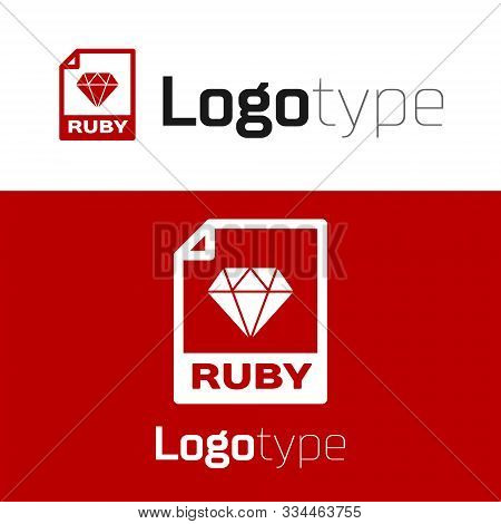 Red Ruby File Document. Download Ruby Button Icon Isolated On White Background. Ruby File Symbol. Lo