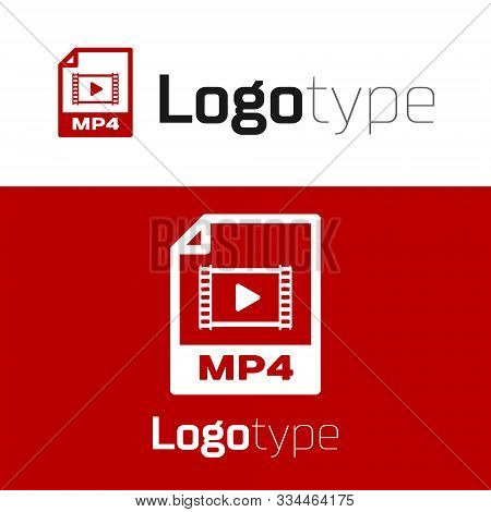 Red Mp4 File Document. Download Mp4 Button Icon Isolated On White Background. Mp4 File Symbol. Logo