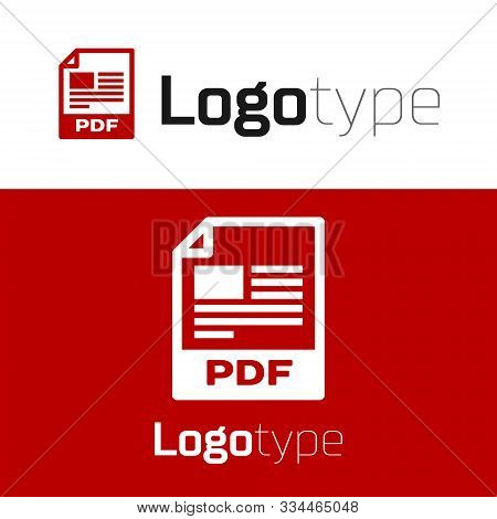 Red Pdf File Document. Download Pdf Button Icon Isolated On White Background. Pdf File Symbol. Logo