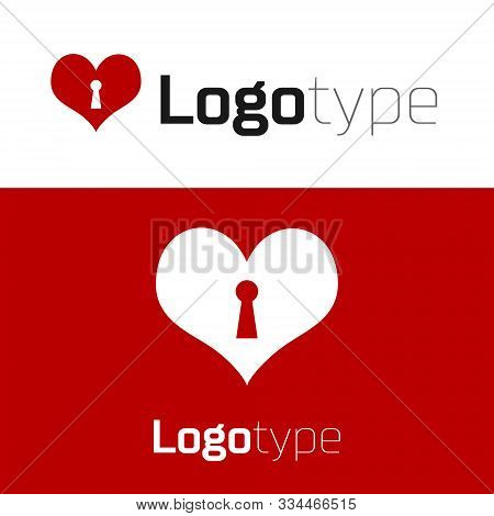 Red Heart With Keyhole Icon Isolated On White Background. Locked Heart. Love Symbol And Keyhole Sign