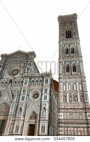 Florence Cathedral, Duomo Of Santa Maria Del Fiore And Bell Tower Of Giotto Isolated On White Backgr