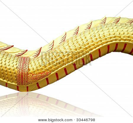 Golden Dragon skin Statue on isolate background