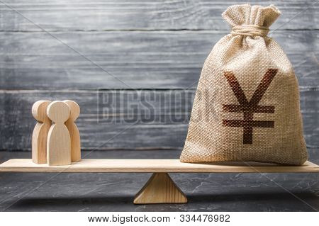 Yen Yuan Symbol Money Bag And People On Scales. Concept Of Attracting Investment, Business Cooperati