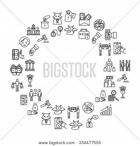 Corruption And Dishonesty Signs Thin Line Concept Frame Or Border Include Of Bribe, Money, People An