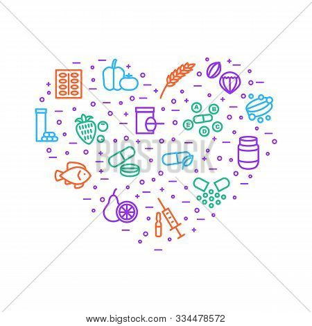 Vitamin And Dietary Signs Thin Line Heart Shape Design Template Include Of Supplement, Bottle, Food,
