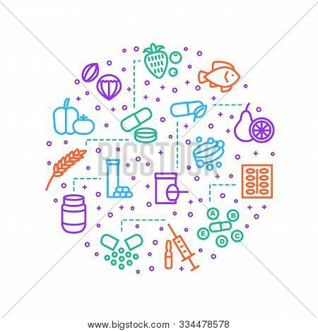 Vitamin And Dietary Signs Thin Line Round Design Template Include Of Supplement, Bottle, Food, Pill,