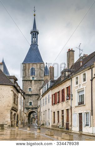 Clock Tower From 15th Century In Avallon Downtown, France