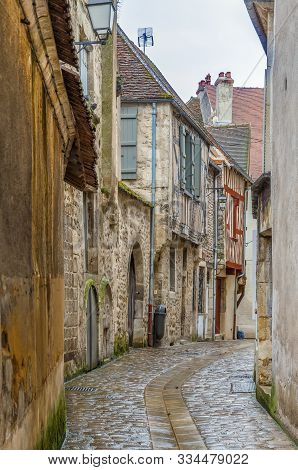 Narrow Street With Historical Houses In Avallon, France