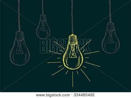 Lit Bulb Amongst Off Bulbs Vector Illustration