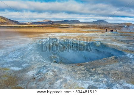 Fumarole Field In Namafjall Geothermal Zone Iceland. Famous Tourist Attraction. Beauty World