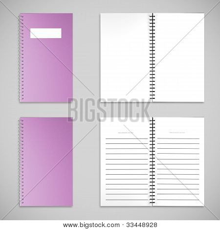 Purple Satin Color Cover Note Book And Blank Paper
