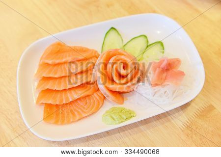 Salmon Sashimi Menu Set Japanese Cuisine Fresh Ingredients On Plate / Japanese Food Raw Sashimi Salm