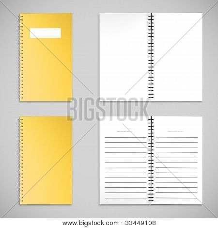 Yellow Satin Color Cover Note Book And Blank Paper