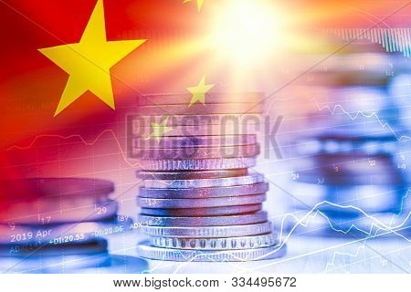 China Flag With Coin Stacking And Stock Market Chart. Value Investment In China Stock Market Concept