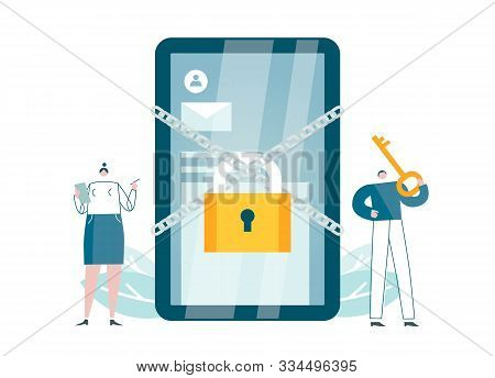 Cybersecurity App Works. Protection Software For Smartphones Blocks Access. Safety For Devices. Veri