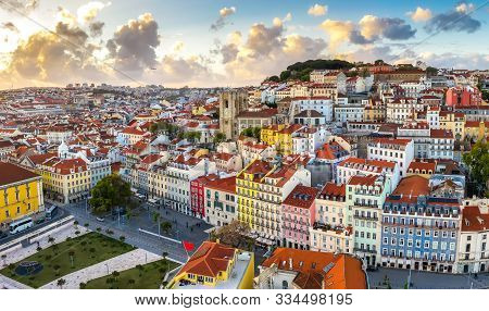 Lisbon Cityscape Panorama Alfama Portugal, Beautiful European City Summer, Colored Houses Roofs