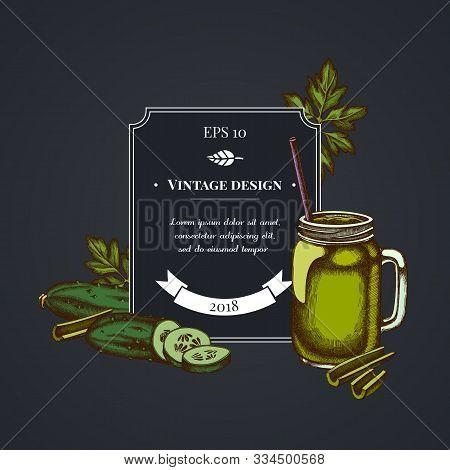Dark Badge Design With Greenery, Smothie Jars, Cucumber, Celery Stock Illustration