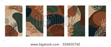 Set Backgrounds With Palm Leaves And Different Shapes. Abstract Mobile Wallpapers In Minimal Trendy