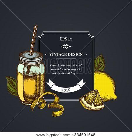Dark Badge Design With Lemons, Basil, Smothie Jars Stock Illustration