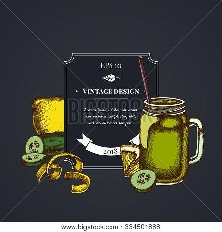 Dark Badge Design With Lemons, Smothie Jars, Cucumber Stock Illustration