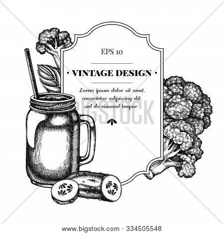 Badge Design With Black And White Broccoli, Basil, Smothie Jars, Cucumber Stock Illustration