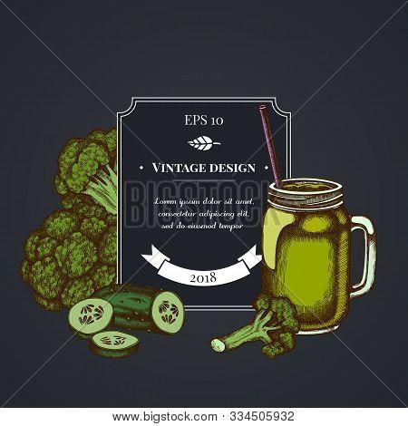 Dark Badge Design With Broccoli, Smothie Jars, Cucumber Stock Illustration